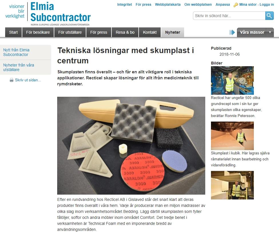 Recticel attended Elmia Subcontractor | Recticel Flexible Foams